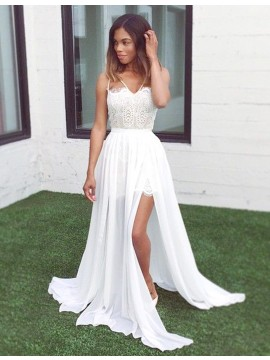 White V-neck Sleeveless Sweep Train Split Prom Dress with Lace