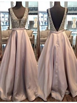 A-line Deep V-neck Backless Floor-length Prom Dress with Beading
