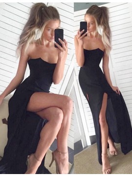 Sexy Black Sheath Strapless Sleeveless Split Floor-length Prom Dress