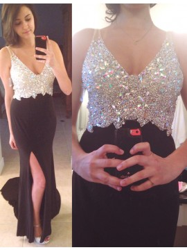 Black Sheath Court Train Split V-neck Prom Dress with Beading