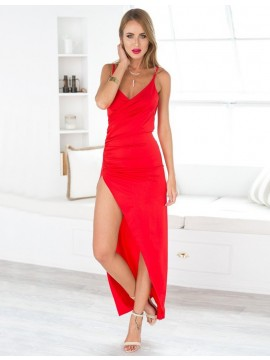 Red Sheath Spaghetti Straps Ankle-length Backless Split Prom Dress