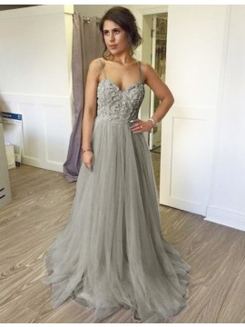 A-line Grey Spaghetti Straps Floor-length Prom Dress with Beading