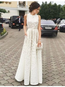 A-line Ivory Jewel Sleeveless Floor-length Prom Dress with Sash Lace