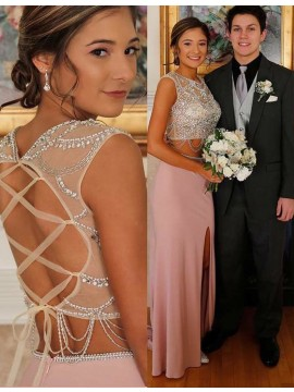 Two Piece Round Sweep Train Split Blush Prom Dress with Beading