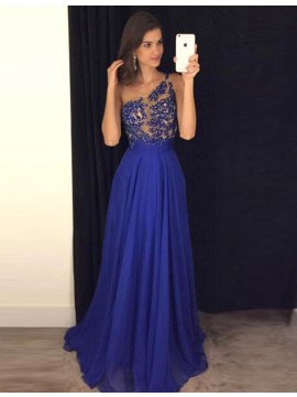 Royal Blue One Shoulder Long Prom Dress with Beading Appliques