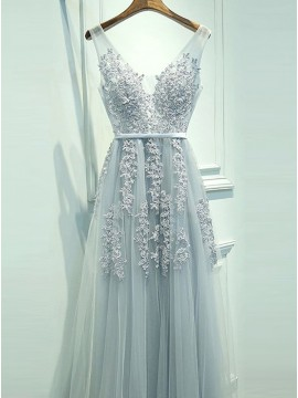 A-Line V-Neck Backless Light Blue Tulle Prom Dress with Appliques