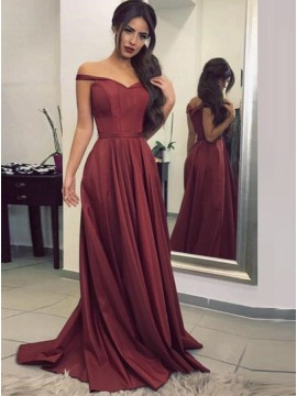A-Line Off-the-Shoulder Pleated Burgundy Satin Prom Dress with Sash