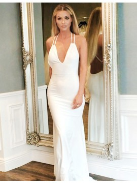 Mermaid Spaghetti Straps Sweep Train Backless White Prom Dress