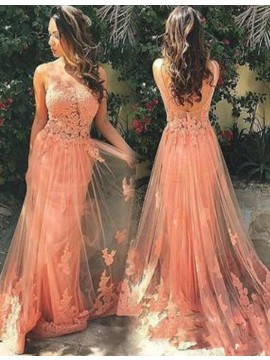 A-line Lace Round Neck Backless Sweep Train Peach Prom Dress