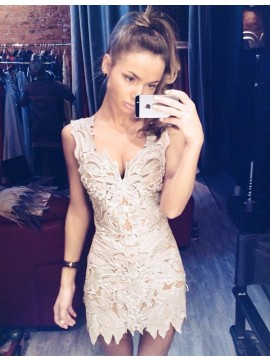 Sheath Deep V-Neck Short  Light Champagne Lace Homecoming Cocktail Dress