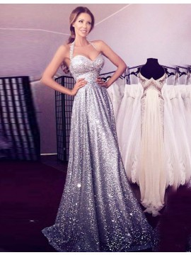 A-line Halter Sleeveless Floor-length Sequined Prom Dress