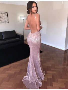 Sexy Mermaid Spaghetti Straps Long Backless Pink Sequin Prom Dress