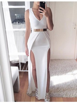 Sheath White V-neck Split Floor-length Prom Dress with Belt
