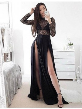 Black High Neck Long Sleeves Split Long Prom Dress with Lace Split