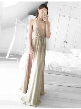 A-line Deep V-neck Split Sweep Train Champagne Prom Dress with Sash