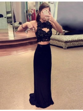 Two Piece Sheath Black Jewel Beading Appliques Keyhole Long Prom Dress