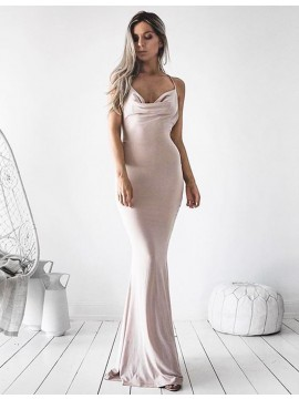 Mermaid Spaghetti Straps Sleeveless Light Champagne Prom Dress
