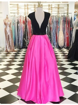 A-line Deep V-neck Beaded Cap Sleeves Fuchsia Prom Dress