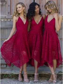 A-Line Spaghetti Straps Asymmetrical Burgundy Lace Bridesmaid Dress
