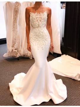 Mermaid Strapless Sweep Train White Prom Dress with Appliques Beading