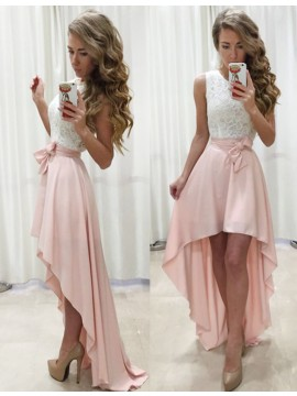 A-Line Round Neck High Low Bowknot Pearl Pink Prom Dress with Lace
