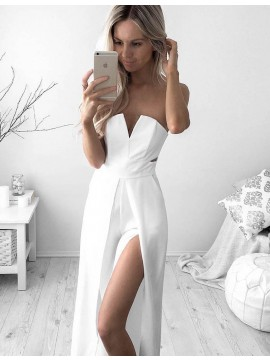 Fashion Strapless Split leg Floor-Length White Prom Jumpsuit