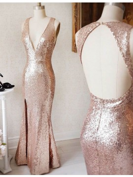 Mermaid Deep V-neck Open Back Rose Gold Split Sequined Long Prom Dress