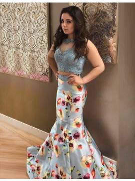 Two Piece Round Neck Open Back Printed Blue Satin Prom Dress with Appliques