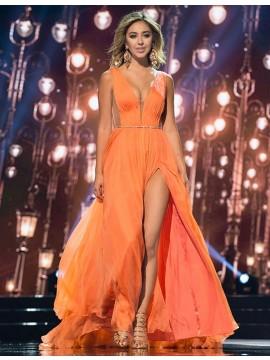 A-Line V-Neck Split Orange Chiffon Prom Dress with Beading