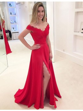 A-Line Off-the-Shoulder Split Red Prom Dress with Lace