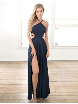 A-Line Spaghetti Straps Sleeveless Dark Blue Chiffon Prom Dress with Split