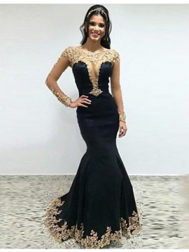 Mermaid Illusion Beteau Long Sleeves Black Satin Prom Dress with Appliques