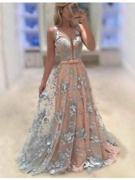 A-Line Illusion Jewel Sweep Train Coral Tulle Prom Dress with Sash Appliques
