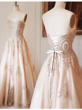 A-Line Sweetheart Floor-Length Lace-Up Light Champagne Prom Dress with Beading Appliques