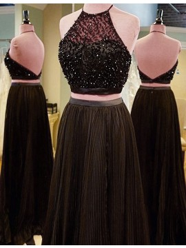 Two Piece Halter Backless Sweep Train Brown Chiffon Prom Dress with Beading Pleats
