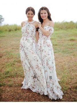 A-Line Halter Sleeveless Sweep Train Printed White Chiffon Prom Dress