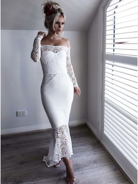 Mermaid Off-the-Shoulder Long Sleeves White Lace Long Prom Dress