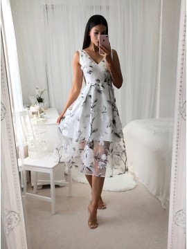 A-Line V-Neck Mid-Calf White Printed Organza Prom Dress with Pleats
