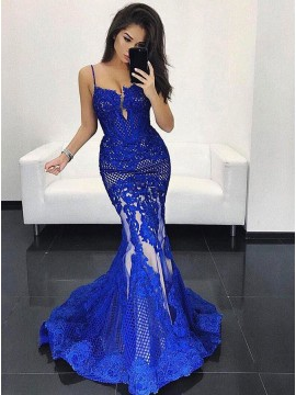 Mermaid Spaghetti Straps Sweep Train Royal Blue Lace Prom Dress