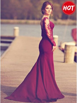Mermaid Sweetheart Long Sleeves Burgundy Prom Dress with Appliques