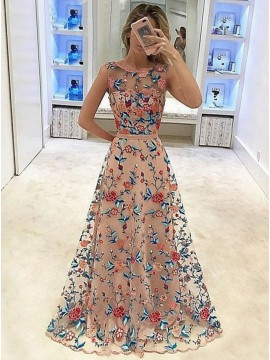 A-Line Crew Long Prom Dress with Embroidery Sash Blush Party Dress