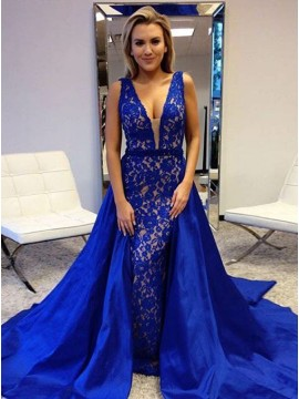 Sheath Deep V-Neck Backless Royal Blue Prom Dress with Lace Overskirt