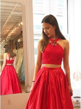 Two Piece V-Neck Red Satin Prom Dress with Lace Rhinestones