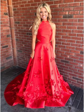 Trendy A-Line Halter Sleevless Sweep Train Red Prom Dress with Appliques