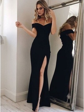 Mermaid Off-the-Shoulder Floor-Length Slit Leg Black Prom Dress