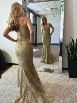 Two Piece Mermaid V-Neck Sweep Train Champagne Lace Prom Dress