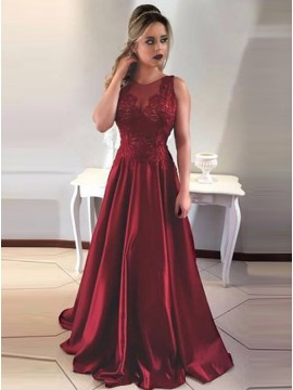 A-Line Jewel Floor-Length Burgundy Satin Prom Dress With Lace