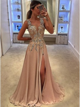 A-Line V-Neck Floor-Length Split Blush Chiffon Prom Dress with Appliques