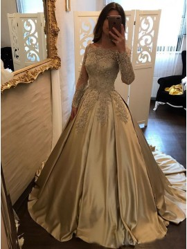 Ball Gown Bateau Long Sleeves Champagne Satin Prom Dress with Appliques Beading