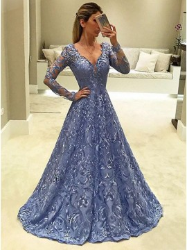 A-Line V-Neck Long Sleeves Blue Long Lace Prom Dress